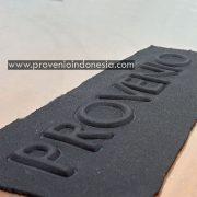 Contoh sampel hasil mesin hot press heat emboss kulit kaos pneumatic otomatis provenio indonesia