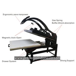 Mesin Heat Press Machine 80x100 Auto Open Provenio Indonesia Perlengkapan Peralatan Sablon Sublimasi